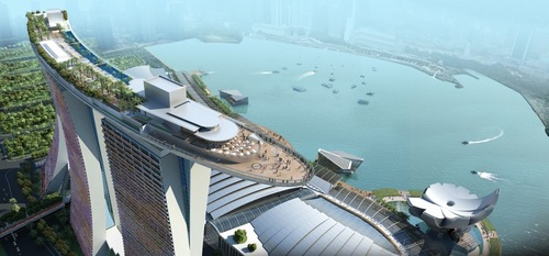 original Marina Bay Sands Skypark BASE Jump. Singapore 2012