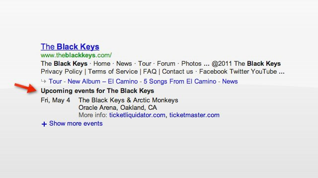 Google Search Results Now Show Concert Listings