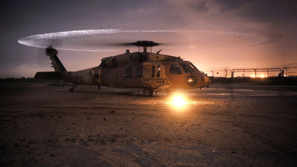 A Helicopter's Blades Transform into Shimmering Halo