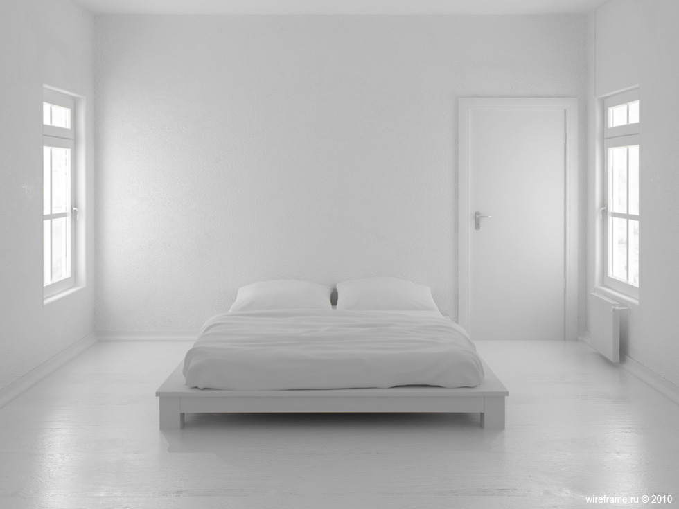 White minimalist bedroom design with small walk in closet for Small room minimal design