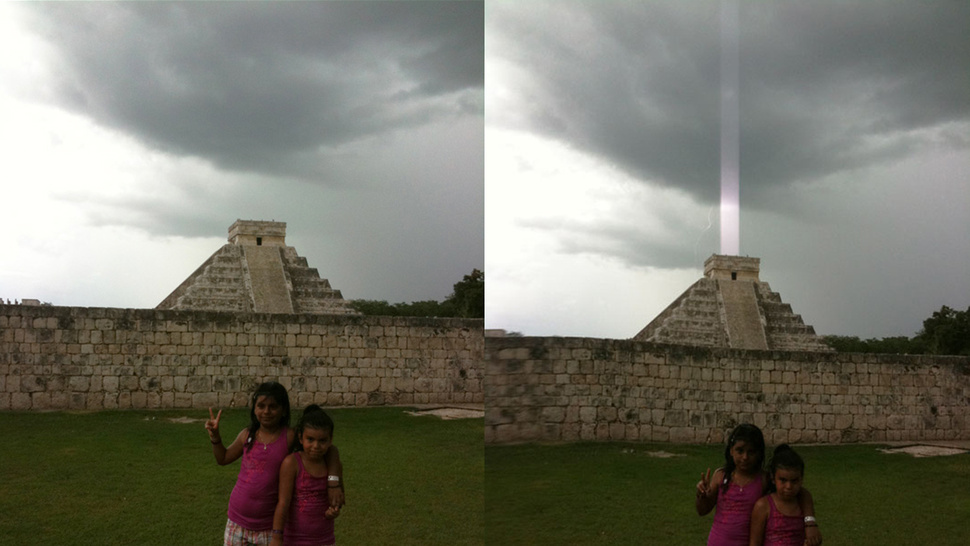 Mayan Pyramid Fires Energy Beam Into the Sky or iPhone Sensor Glitch? <em>YOU PICK!</em>