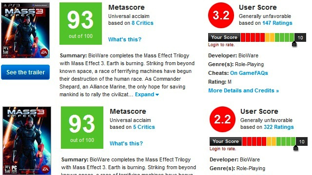 Metacritic Says It Has Removed Rule-Violating Mass Effect 3 User Reviews