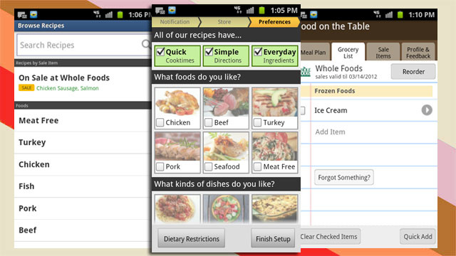 Food on the Table Builds Meal Plans and Grocery Lists To Go on Android, iPhone, and Online