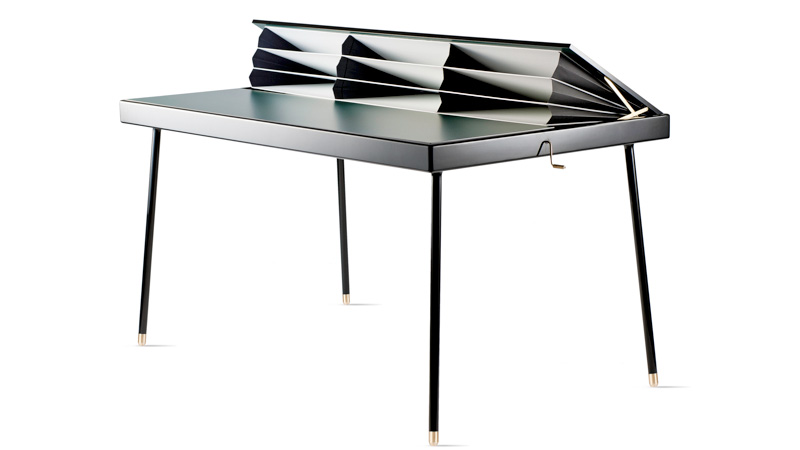 Click here to read This Desk Hides Your Mess With Clever Pop-up Accordion Folders