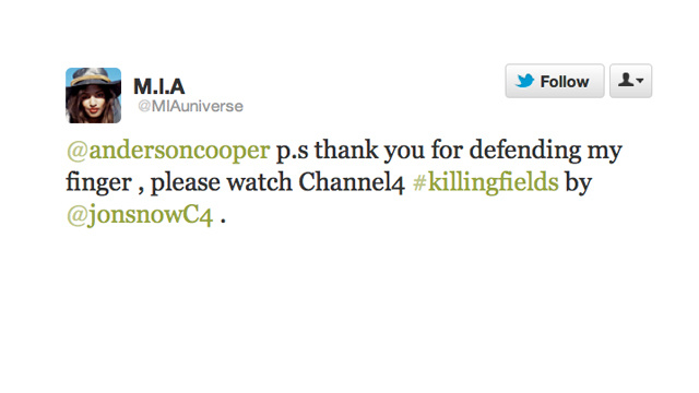 M.I.A. and Anderson Cooper Ignite and Resolve Feud in an Hour and Twenty-One Minutes