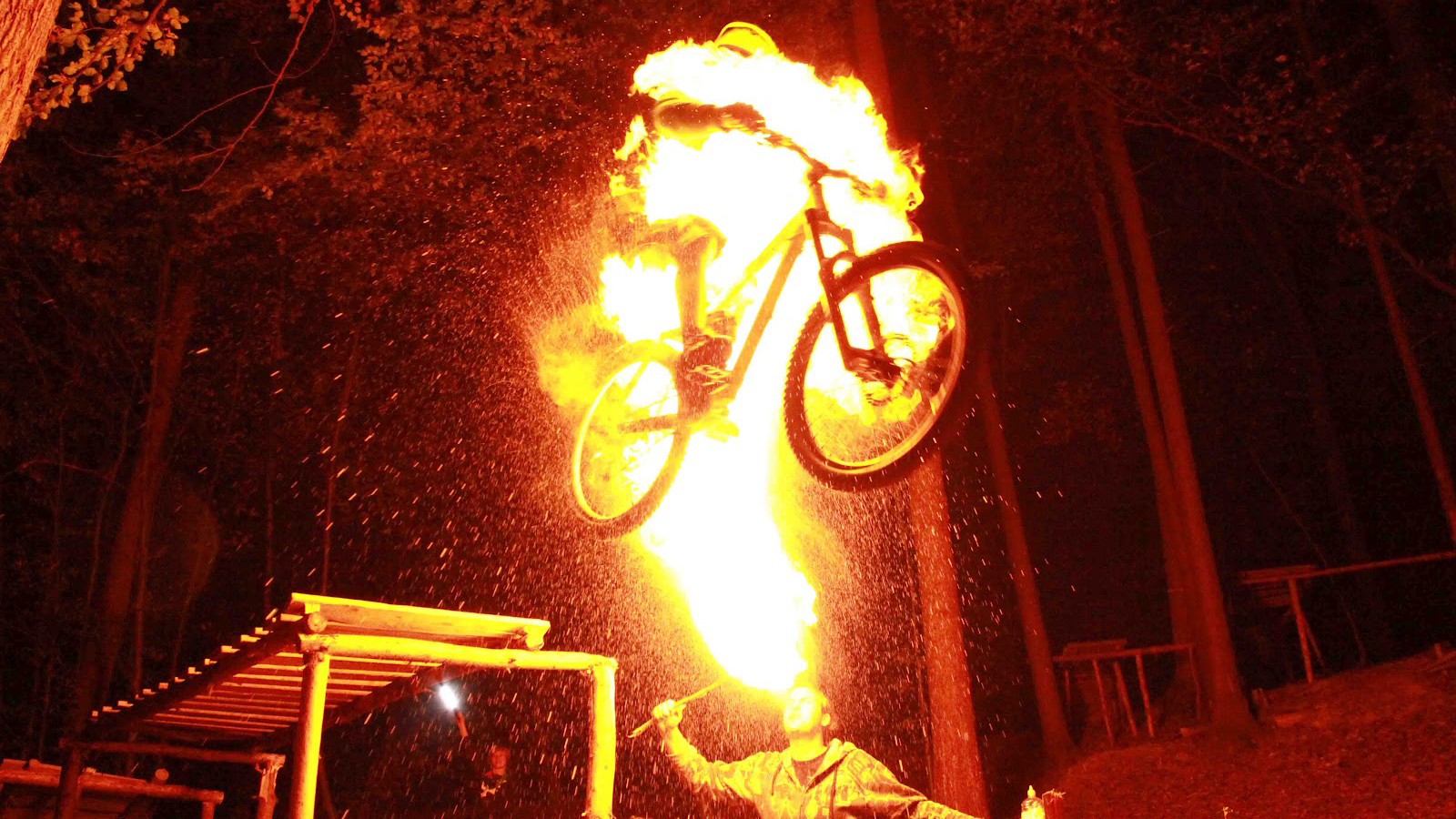 original Bike Jumping While Someone Spits Fire On You Looks Really Fun [WTFriday]