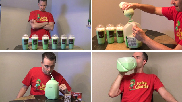 original St. Patricks Day Hero Attempts To Drink a Gallon Of Shamrock Shake [St. Patricks Day]