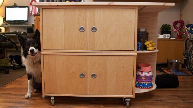 combine 3 ikea parts into a rolling kitchen island