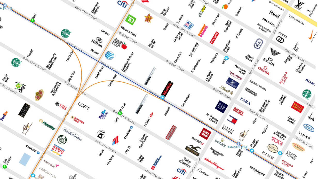 Click here to read New York City Map Made of Brands Is Perfect for Tourists, Snobs