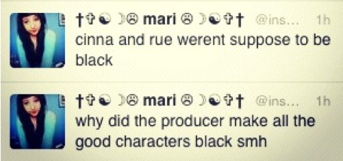 cinna and rue werent suppose to be black. why did the producer make all the good characters black smh.