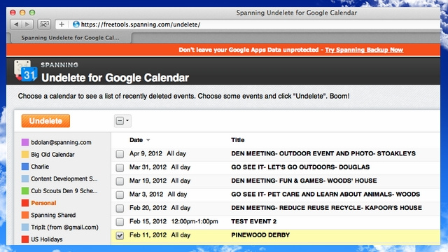 Spanning Undelete Rescues Google Apps Calendar Events