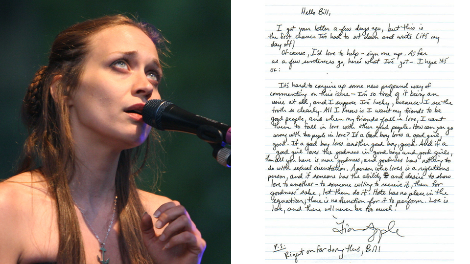 Read Fiona Apple's Letter to a Young Gay Teen Following a concert in 2000, ...