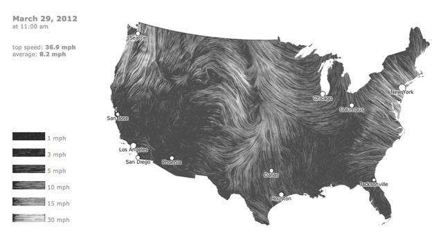 A mesmerizing, real-time map of US wind patterns