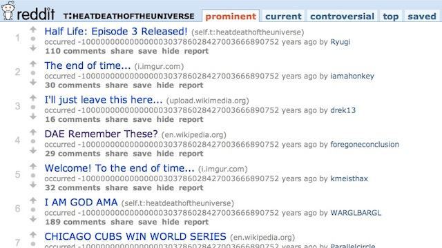 Reddit's new timeline feature takes us to the heat death of the universe