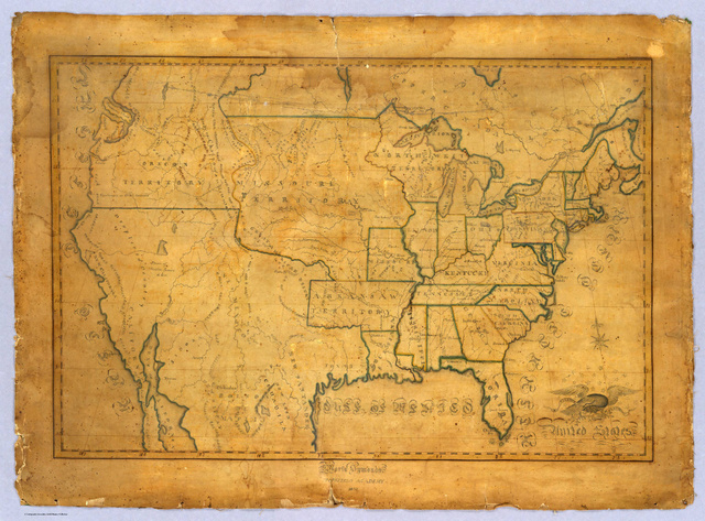Hand-drawn maps made by 19th-century school children