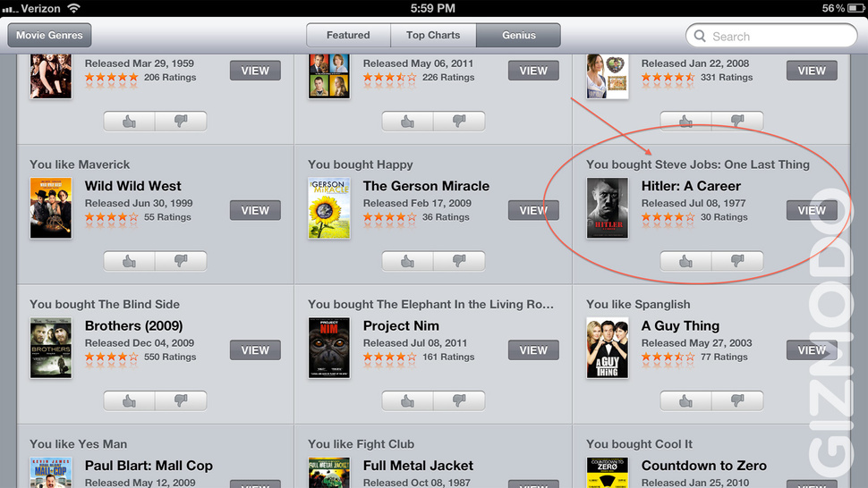 "If You Bought ""Steve Jobs: One Last Thing"" You'll Like ""Hitler: A Career"", Says iTunes Genius (Updated)"