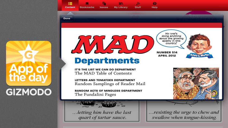 Click here to read Mad Magazine: Alfred E. Newman Lands on the iPad