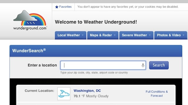 Most Popular Weather Site: Weather Underground