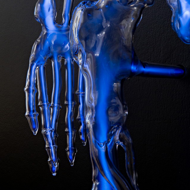 This life-size glass skeleton is illuminated by krypton