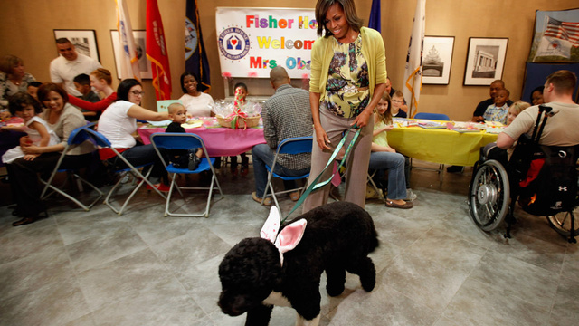 Michelle Obama and Bo the 'Easter Bunny' Visit Wounded Vets and Their Families