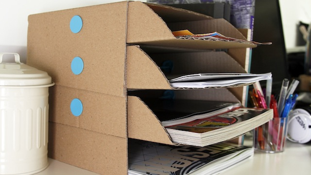 Make Your Own Desk Tray from Cardboard Boxes