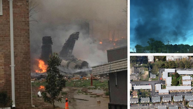 F-18 Crashes into Apartment Building and Explodes (Updating Live)