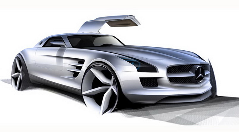 Mercedes Sls Amg Gullwing First Sketches And Interior Photos