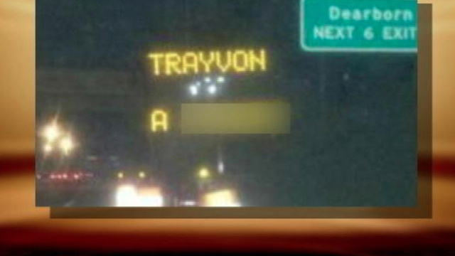 Electronic Road Sign Hacked With Racist Trayvon Martin Message