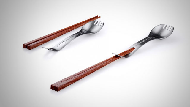 Click here to read The Titanium Kung Foon Spork Combines Every Dining Utensil into One Portable Eating Tool