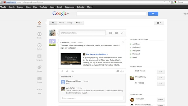 Click here to read Whitespace Remover for Google Plus Cleans Up the New Google+ Layout on Chrome and Firefox