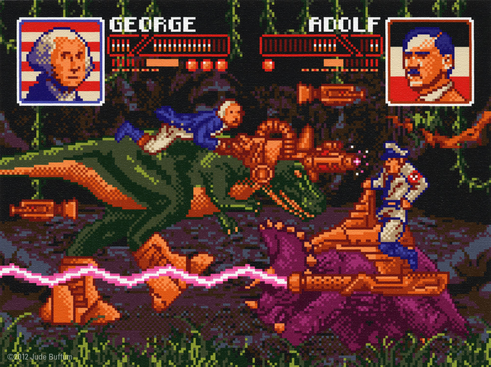 Click here to read 8-Bit George Washington and Adolf Hitler Fight With Cyborg Dinosaurs in This Time Travel Art Show