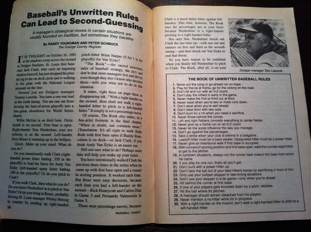 Baseball's Unwritten Rules, Uncovered After 26 Years