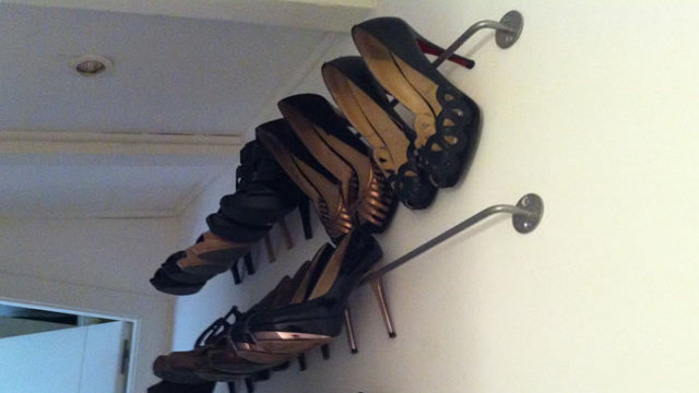 Hang High Heels on a Kitchen Rod