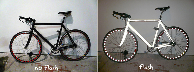 Retroreflective Bright Bike Looks Black, Glows White in Headlights