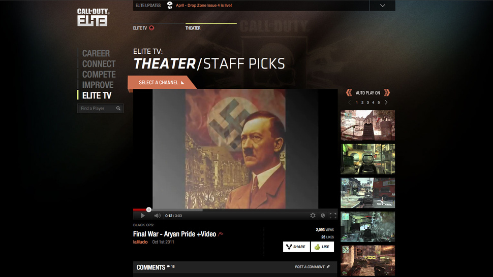 Pro-Hitler Video is a <em>Call of Duty Elite </em> 'Staff Pick'