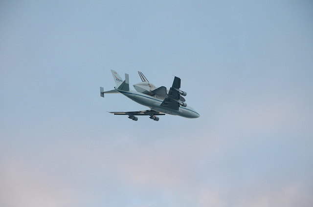 There's a Space Shuttle Riding On The Back Of a Jumbo Jet This Morning