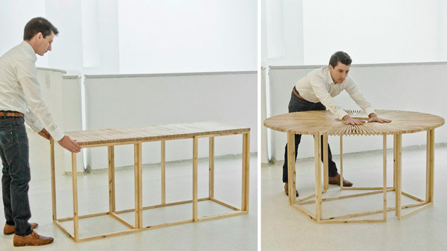 This Transforming Table Magically Transforms From Rectangle to Circle