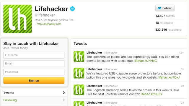 Click here to read Follow Lifehacker and Our Writers on Twitter for Our Articles As They're Posted and Hilarity that Lasts All Day