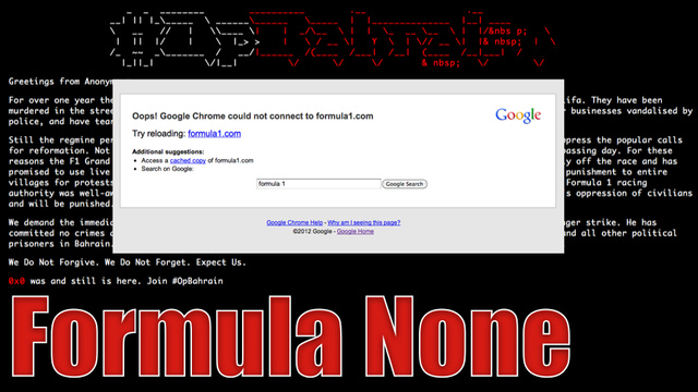 BREAKING: Anonymous Takes Down Formula 1 Website With DDOS Attack (Updating Live)