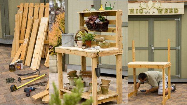 Click here to read Repurpose Wooden Pallets Into a Potting Bench