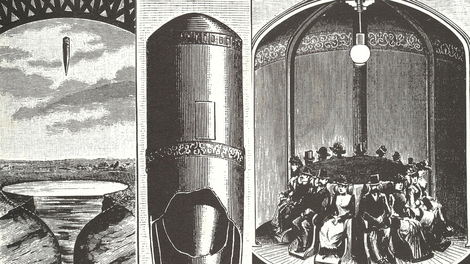 Dropping 1000 feet inside a giant bullet = the most bad-ass amusement park ride that never was
