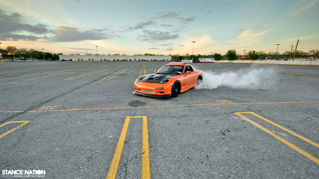 Mazda RX-7 Burnout: Fire Photos