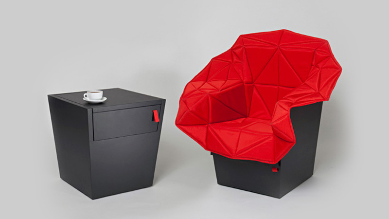 Click here to read Fold Out Emergency Chair Hides Inside a Monolithic End Table