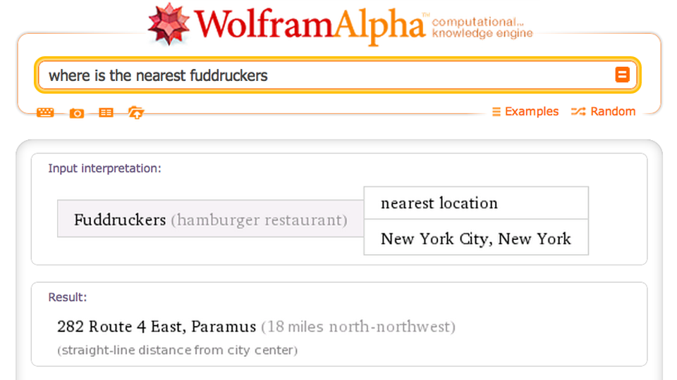 Click here to read Wolfram Alpha Can Tell You Where to Eat Now