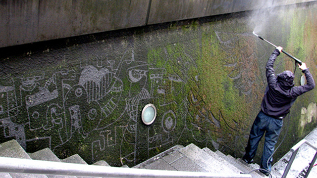 Ethical Graffiti: Pressure-Washing Moss to Make Art