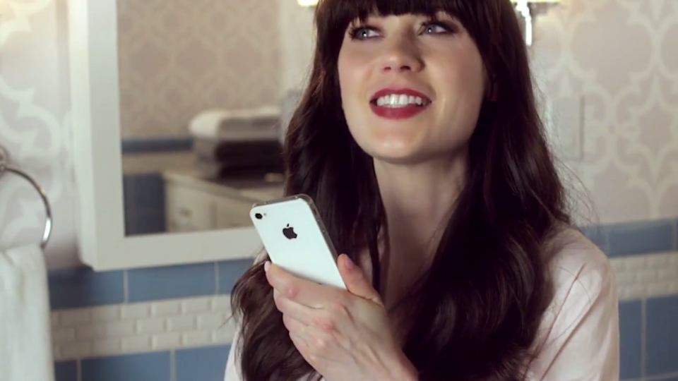 Click here to read Ten Adorable Fun Super GIFs of Zooey Deschanel Talking to Siri