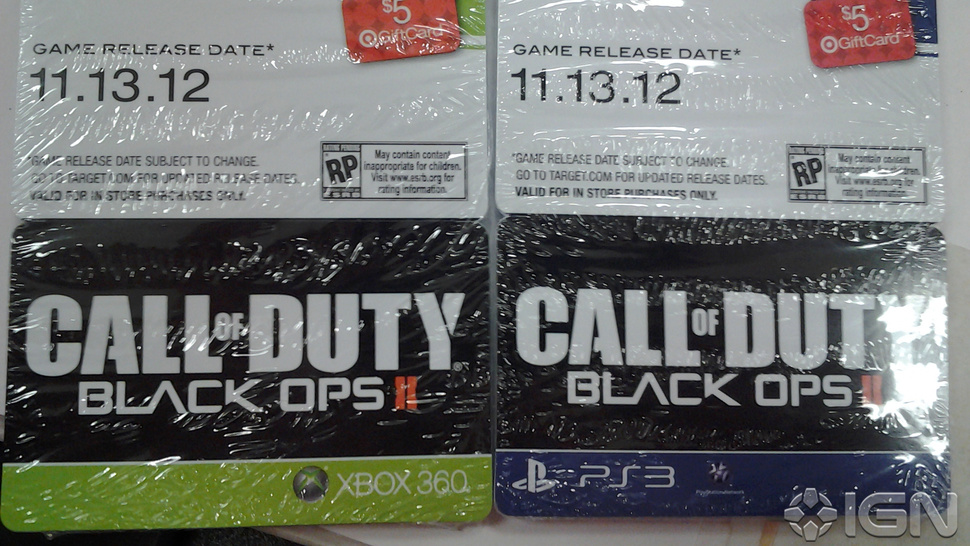 Pre-Order Cards Show <em>Call of Duty: Black Ops 2</em> As Coming November 13th