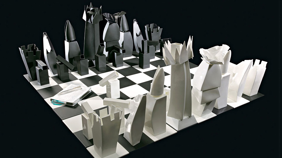 Click here to read Frank Gehry's Tiffany Chess Set Is a Miniature Architectural Marvel