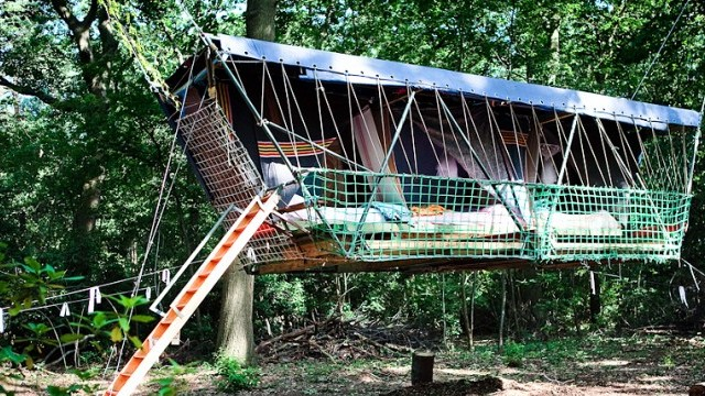 This Hanging Hotel Made Of Recycled Materials Is Weird And Wonderful