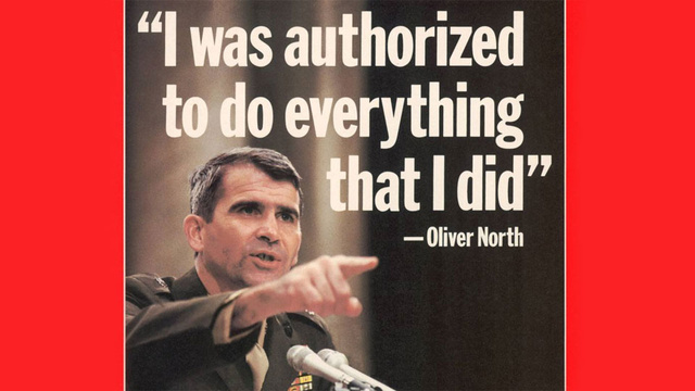 Oliver North Defending His Actions in Iran Contra